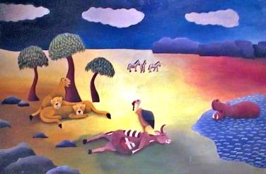 Schilderij wilde dieren Peer Haemers